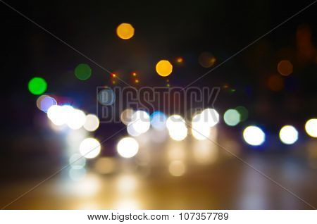 Abstract Blurred Night Scene On City Road