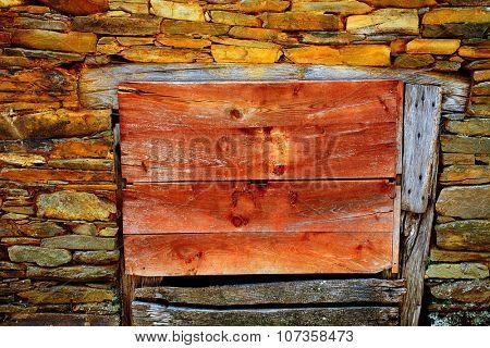Way of Saint James slate stone wooden door in Galicia Spain