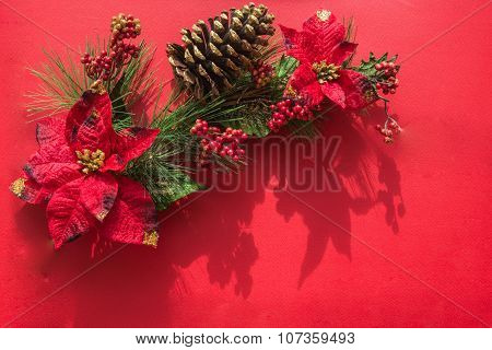 Pine Branches With Christmas And New Year Decorations