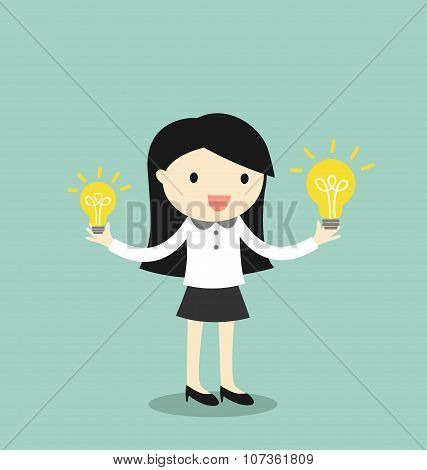 Business concept, Businessman compares big idea to small idea. Vector illustration.