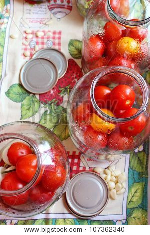 Tomatos In Jars Prepared For Preservation