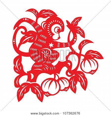 Red paper cut monkey zodiac symbol (monkey on peach tree)