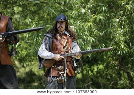 Cesky Rudolec. CZ. - 9Th July 2011:  Musketeer In Period Dress with Rifles.