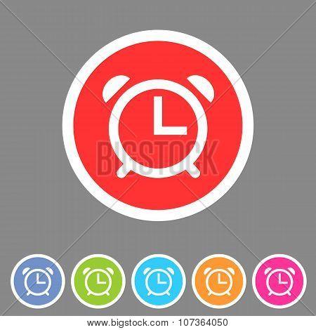 Alarm clock watch icon flat web sign symbol logo label
