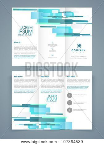 Creative professional Trifold Brochure, Template or Flyer design with front and back page presentation for your Business.