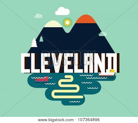Cleveland destination brand logo. vector cartoon