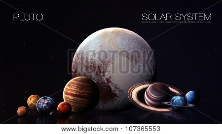 Pluto - 5K resolution Infographic presents one of the solar system planet. This image elements furni