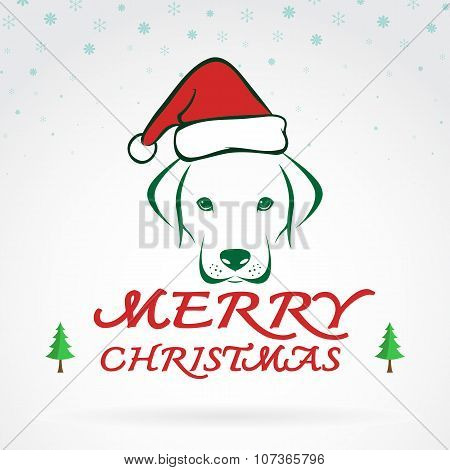 Vector Image Of An Dog And Santa Hats On White Background. Merry Christmas Lettering