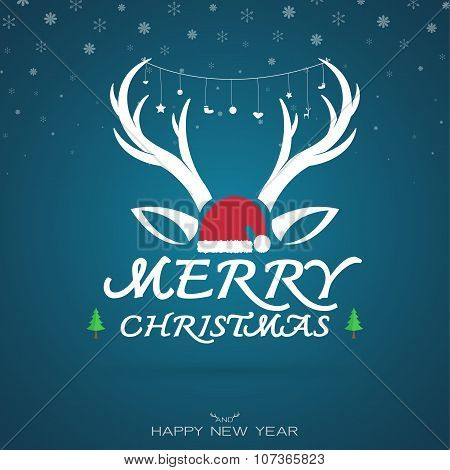 Vector Image Of An Christmas Greeting Card. Antler And Santa Hat. Merry Christmas Lettering.