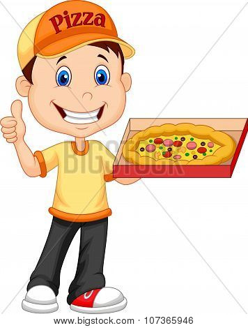 Delivering pizza. thumb up of cheerful young delivery man holding a pizza box while isolated on whit