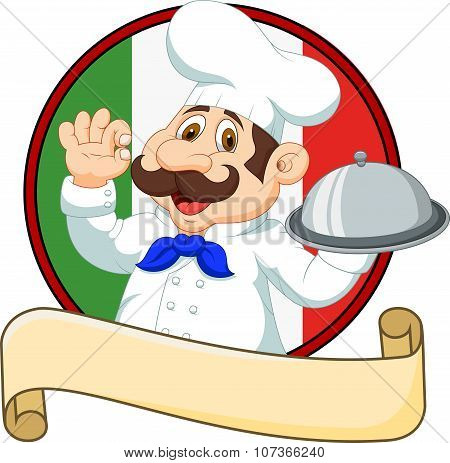 Cartoon funny chef with a moustache holding a silver platter