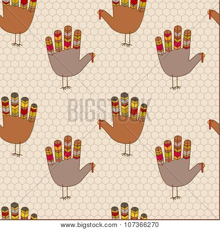 seamless thanksgiving pattern of colorful hand print turkeys and chicken wire