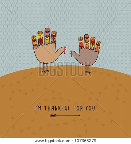 thanksgiving card design with theme message and cute hand print turkeys