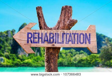 Rehabilitation arrow with beach background