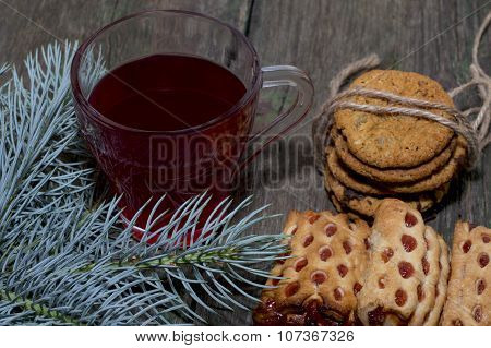 Cup Of Tea, Fir-tree Branch And Two Linking Of Cookies