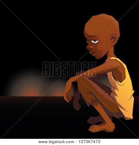 Sad African refugee child boy in a poor dress on war lightning background