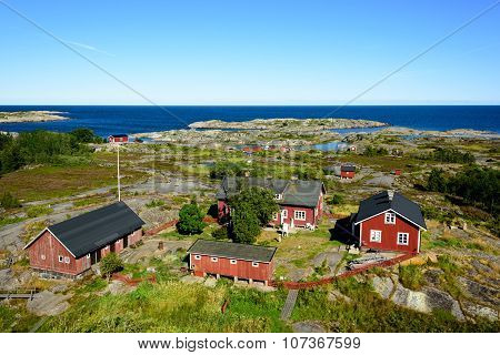 Group Of Old Red Houses In The Archipelago