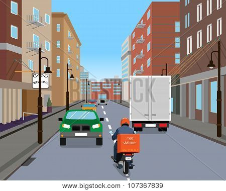 Courier on a scooter in a hurry to bring delivery via dense city traffic. Vector illustration