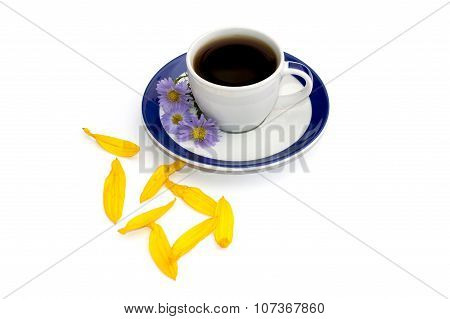 Coffee On A Saucer, Decorated With Three Blue Florets And Petals