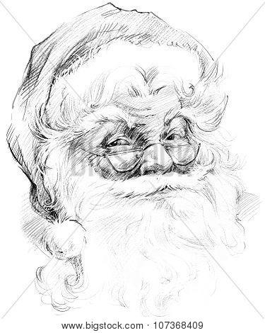 Santa Claus portrait sketch. Sketch of Santa Claus background