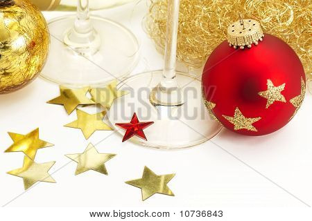 Red and vintage christmas balls from top with angels hair, stars, champagne glass bottoms