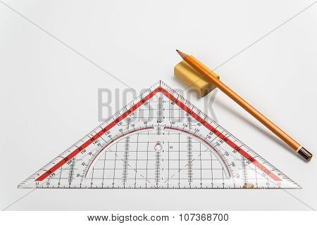 Simple Pencil, Eraser And Ruler Triangle