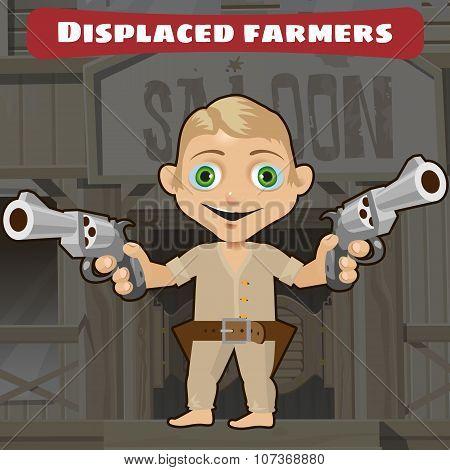 Fictional cartoon character -  displaced farmers
