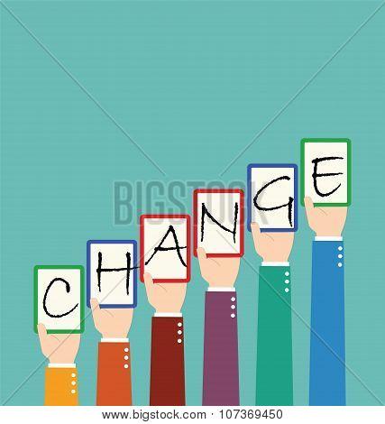 Businessman Hold Change Wording Tag