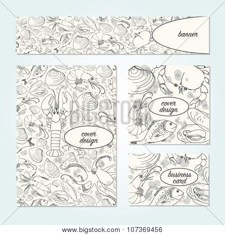 Vector Doodle Seafood Design Templates.