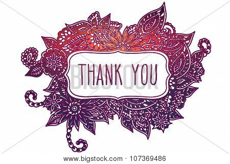 Thank You Colored Doodle Frame