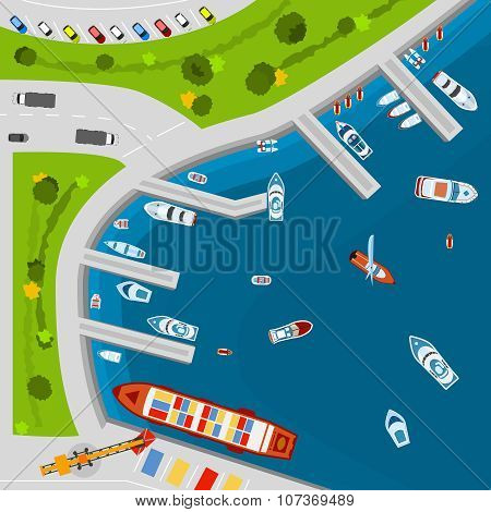 Seaside port aerial top view poster