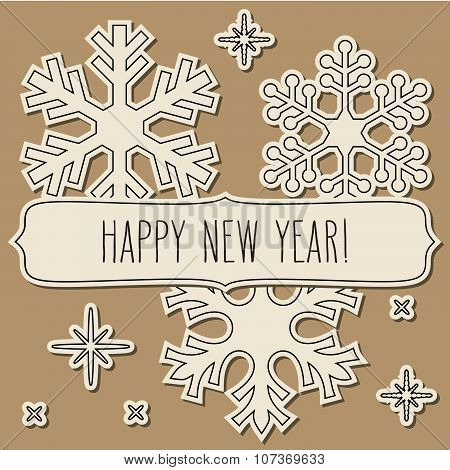 Paper Cut Snowflakes Frame And New Year Greetings