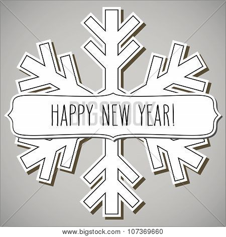 Paper Snowflake Frame And New Year Greetings