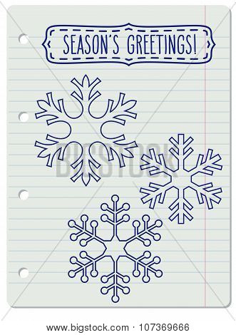 Snowflakes And A Frame With Season's Greetings
