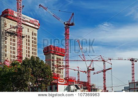 Cranes Works And Multistorey Building