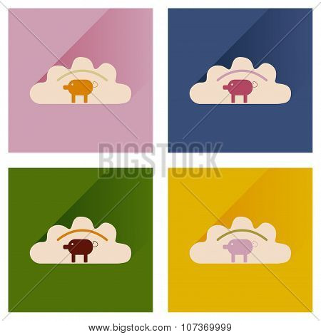 Modern flat icons vector collection dumplings with pork