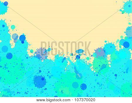Blue Watercolor Paint Splashes Frame