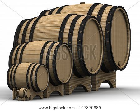 Wooden barrels of different sizes