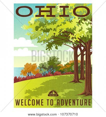 Retro style travel poster or sticker. United States, Ohio landscape