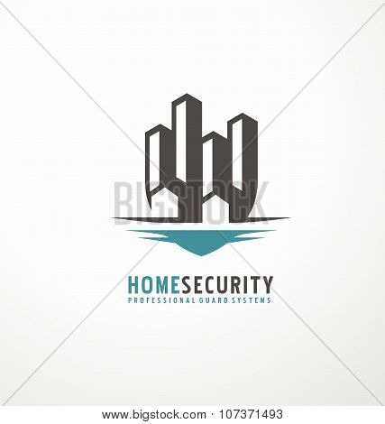 Creative logo design with cityscape  as part of the shield