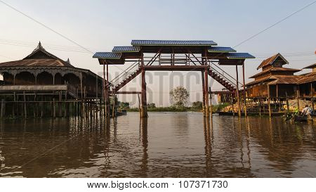 A Fishing Village On Stilts On Inle Lake In Burma