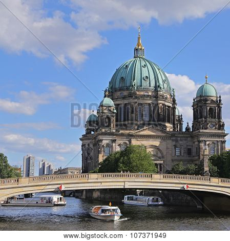 Berlin - July 26: Berlin Cathedral. German Berliner Dom. A Famous Landmark On The Museum Island In M