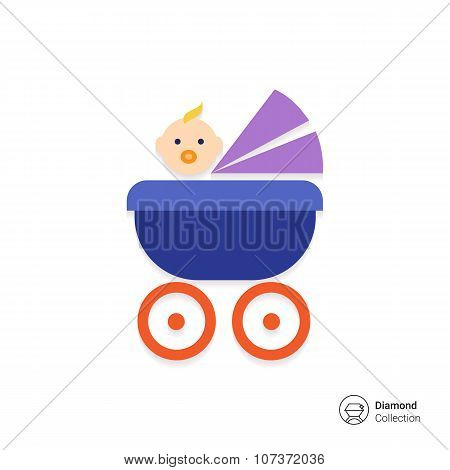 Baby carriage with baby