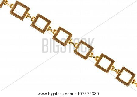 Old Gold Chain Made Of Large Square Links