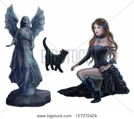 Set Fantasy beautiful woman , black cat, statue