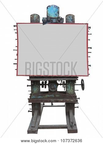 Stylish Industrial Style Advertising Panel, Rusty Gear And Bolt, White Blank Space, Isolated