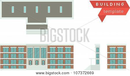 Administrative Building - Template For Creation Axonometric Projections