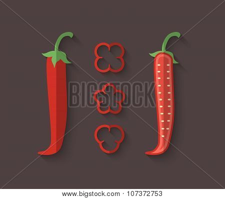 A Set Of Vegetables In A Flat Style - Chilli Pepper