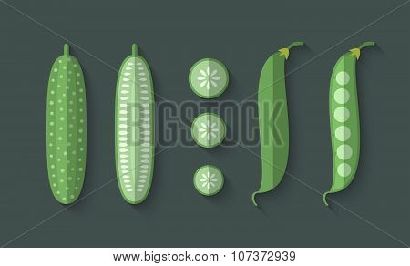 A Set Of Vegetables In A Flat Style - Cucumber And Snow Peas