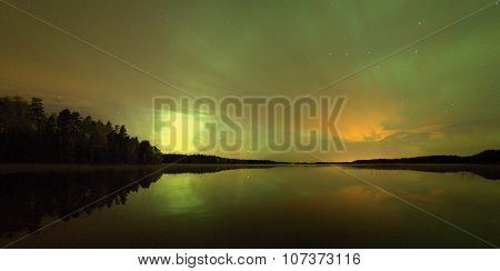Peaceful Lake With Northern Lights